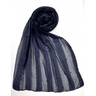 Striped Cotton Women's Stole - Blue