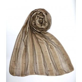 Striped Cotton Women's Stole - Light Brown
