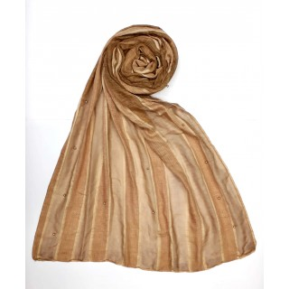 Striped Cotton Women's Stole - Desert Brown