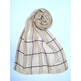 Designer Box Cotton Women's Stole - Golden