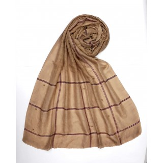 Designer Box Style Women's Stole - Light Brown