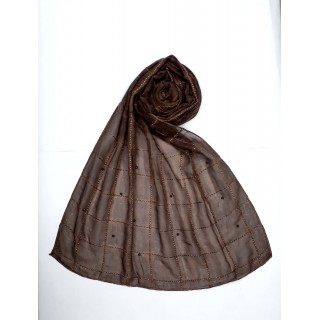 Designer Box Style Women's Stole - Dark  Brown