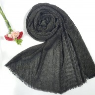 Designer Crinkled Cotton Mesh Sparkling  Women's Stole - Black