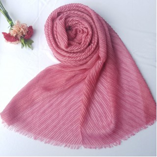 Designer Crinkled Cotton Mesh Sparkling  Women's Stole - Rose Pink