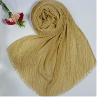 Designer Crinkled Cotton Mesh Sparkling  Women's Stole - Golden