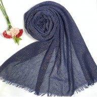 Designer Crinkled Cotton Mesh Sparkling  Women's Stole - Blue