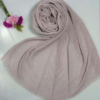Designer Crinkled Cotton Mesh Sparkling  Women's Stole - Light Pink