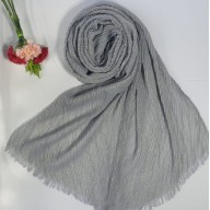 Designer Crinkled Cotton Mesh Sparkling  Women's Stole - Grey