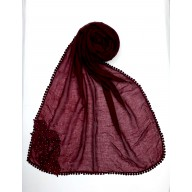 Designer Diamond Studded Women's Stole-Maroon