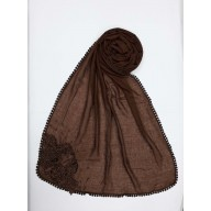 Designer Diamond Studded Women's Stole-Chocolate Brown