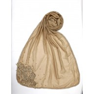 Designer Diamond Studded Women's Stole-Beige Brown