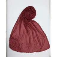 Designer Diamond Studded Women's Stole- Maroon