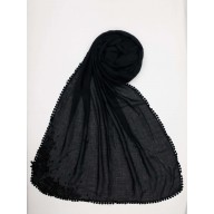 Designer Diamond Studded Women's Stole-Charcoal Black
