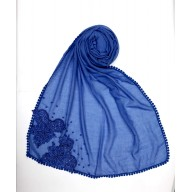 Designer Diamond Studded Women's Stole- Blue