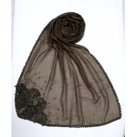 Designer Diamond Studded Women's Stole-Brown