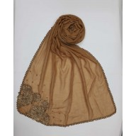 Designer Diamond Studded Women's Stole-Light Brown