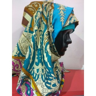 Blue Color Multi Printed Hijab -Satin Fabric