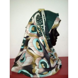 Greenish Color Multi Printed Hijab