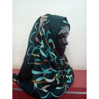 Deep Green Color Printed Hijab