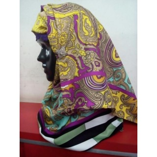 Yellow Printed Hijab -Satin Fabric