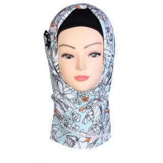 Blizzard Blue Design Hijab - Crepe Fabric