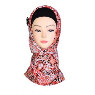 Salmon Colored Design Hijab - Crepe Fabric