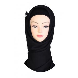Woodsmoke Black Hijab - Crepe Fabric