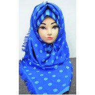 Woolen Scarf- Royal Blue Polka dot