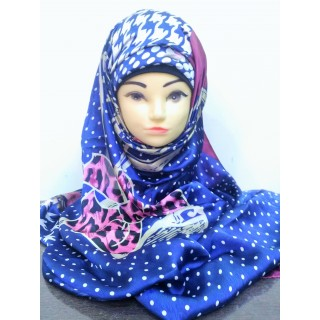 Scarf- Royal Blue Polka printed