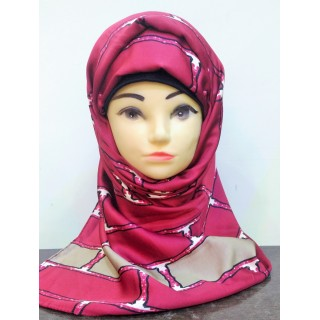 Turkish Scarf-  Red and Grey Printed