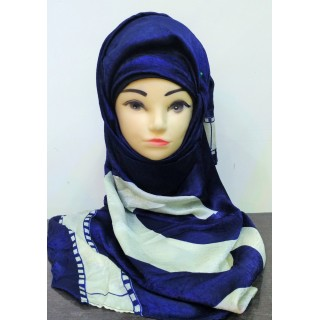 Premium Collection Scarf-  Blue Strip Printed