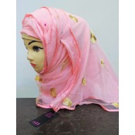 Double layered Hijab - Baby Pink color with embroidery work