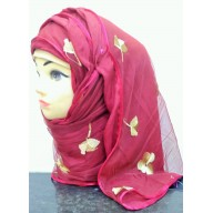 Double layered hijab- Maroon color with embroidery work
