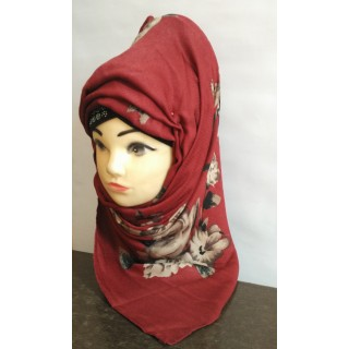 Scarf- Flower Printed on Maroon background
