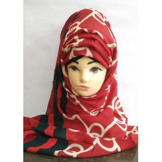 Printed Scarf on Red background