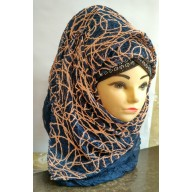 Designer Scarf in Blue- Half Net