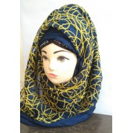 Designer Scarf in yellow printed- Half Net