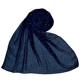 Cotton dew dew drop diamond studded all over stole - Blue
