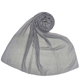 Cotton dew dew drop diamond studded all over stole - Grey