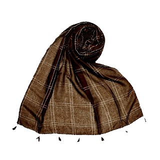 Hand Work White Threaded Grid Hijab - Brown