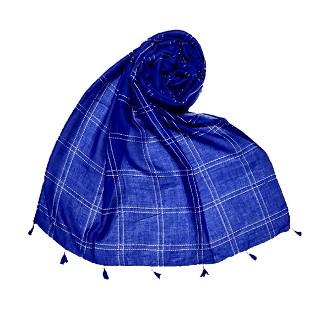 Hand Work White Threaded Grid Hijab - Blue