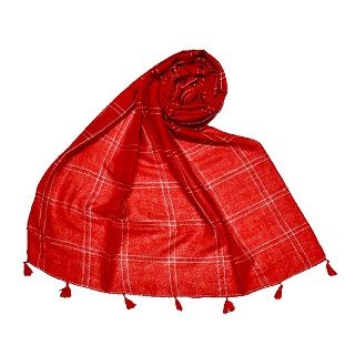 Hand Work White Threaded Grid Hijab - Red