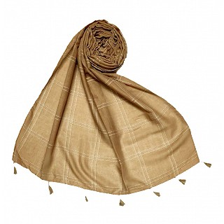 Hand Work White Threaded Grid Hijab - Light brown