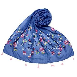 Designer Flower - Diamond Studded Stole - Blue