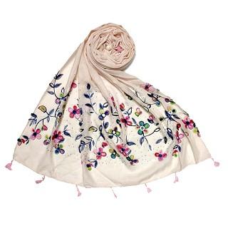 Designer Flower - Diamond Studded Stole - Cream