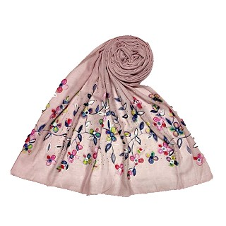 Designer Flower - Diamond Studded Stole - Purple