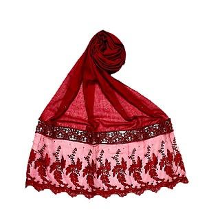 Premium Cotton - Designer Bordered Hijab - Maroon