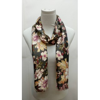 Premium Silk Viscose Stole- Printed Grey