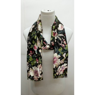 Premium Silk Viscose Scarf - Black