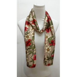Premium Silk Viscose Scarf - Grey printed